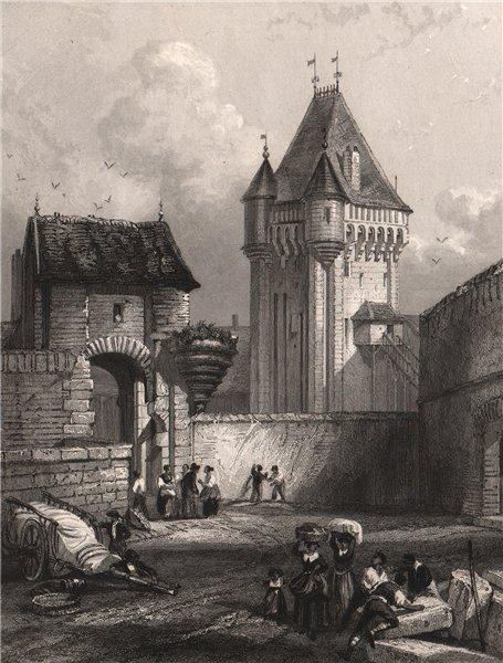 Associate Product NEVERS. Porte du Croux. Nièvre 1844 old antique vintage print picture