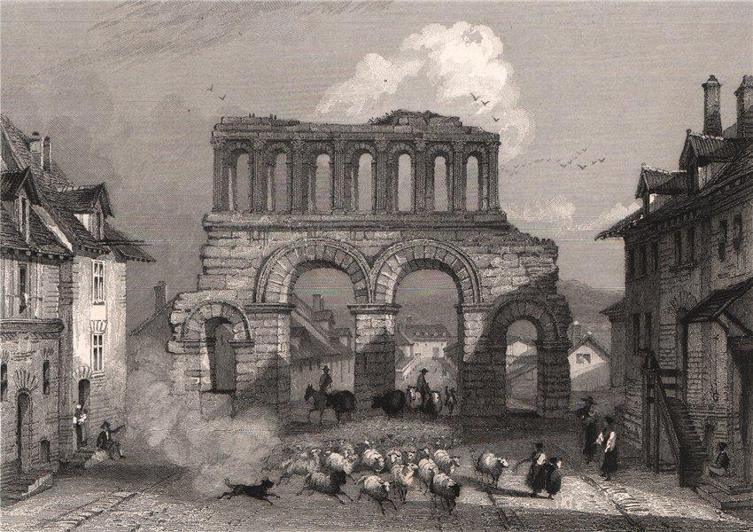Associate Product AUTUN. Porte d'Arroux. Saône-et-Loire 1844 old antique vintage print picture