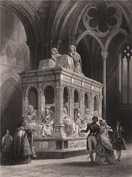 Associate Product ST. DENIS. Tombeau de Louis Xii & d'Anne de Bretagne. Paris 1844 old print