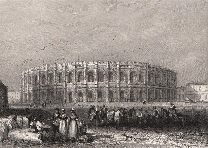 Associate Product ARÈNES DE NÎMES. Gard 1844 old antique vintage print picture