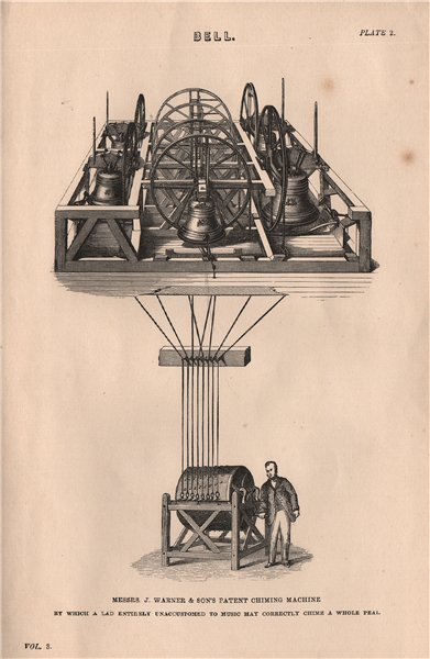 Associate Product Warner's Patent Chiming Machine. Bells 1880 old antique vintage print picture