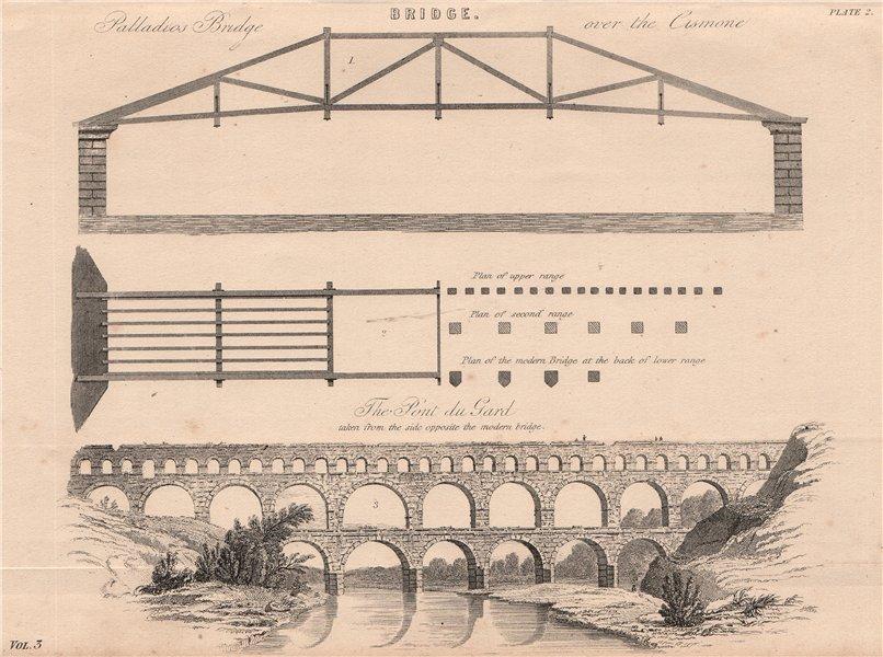 Associate Product BRIDGES. Palladios Bridge over the Cismone; The Pont du Gard 1880 old print