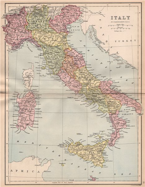 Associate Product ITALY. w/o Trieste & South Tyrol. BARTHOLOMEW 1878 old antique map plan chart
