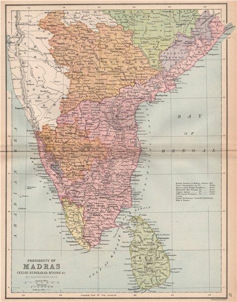 Associate Product BRITISH INDIA SOUTH 'Madras Presidency' Mysore Ceylon Coromandel Coast 1878 map