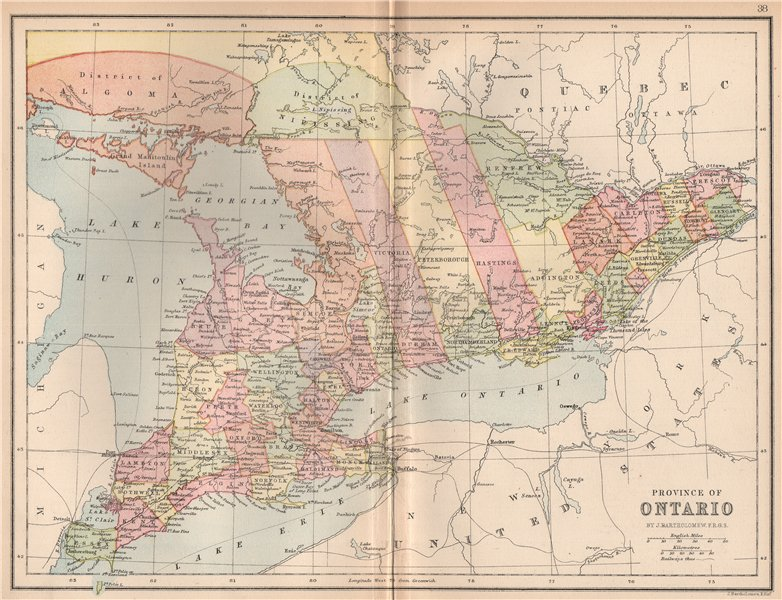 Associate Product CANADA. 'Province of Ontario'. Counties. Railways. Districts 1878 old map