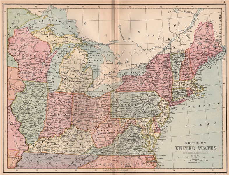 Associate Product USA NORTH EAST. Atlantic States. Midwest. BARTHOLOMEW 1878 old antique map