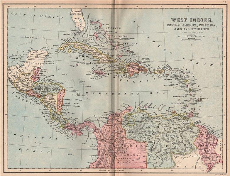Associate Product CARIBBEAN. West Indies Cent. America Columbia Venezuela British Guiana 1878 map
