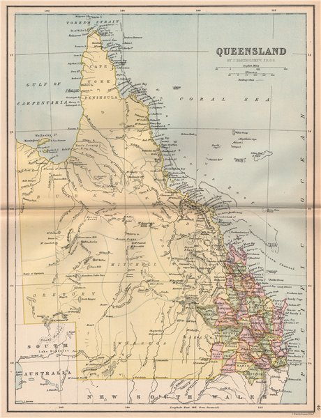 Associate Product QUEENSLAND. State map shows 37 counties. Railways. Brisbane. Australia 1878