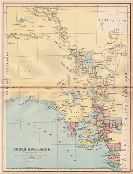 Associate Product SOUTH AUSTRALIA. State map shows 24 counties. Railways. Adelaide 1878 old