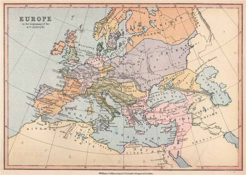 Associate Product 'Europe in the beginning of the 6th Century'. BARTHOLOMEW 1878 old antique map