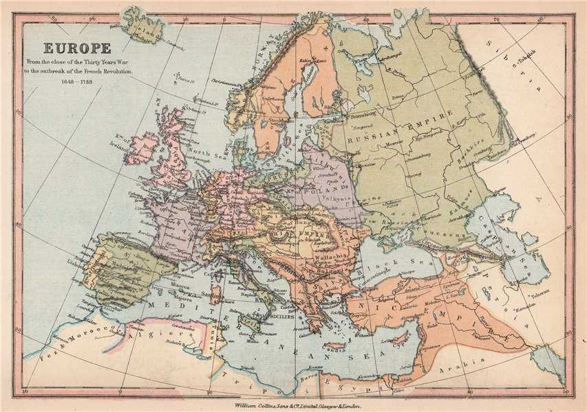 Associate Product EUROPE 1648-1789. End of the Thirty years war to the French Revolution 1878 map