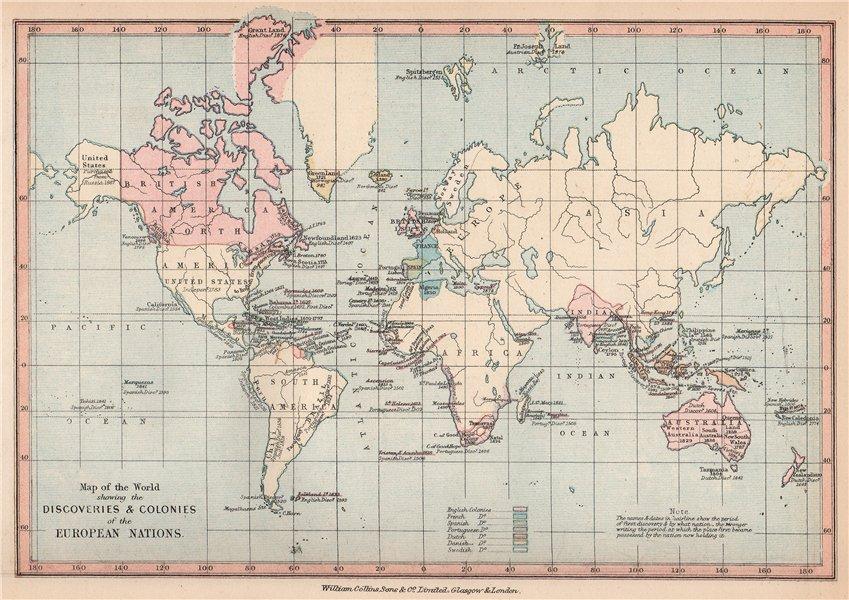Associate Product WORLD SHOWING EUROPEAN COLONISATION. British French Spanish Swedish &c 1878 map