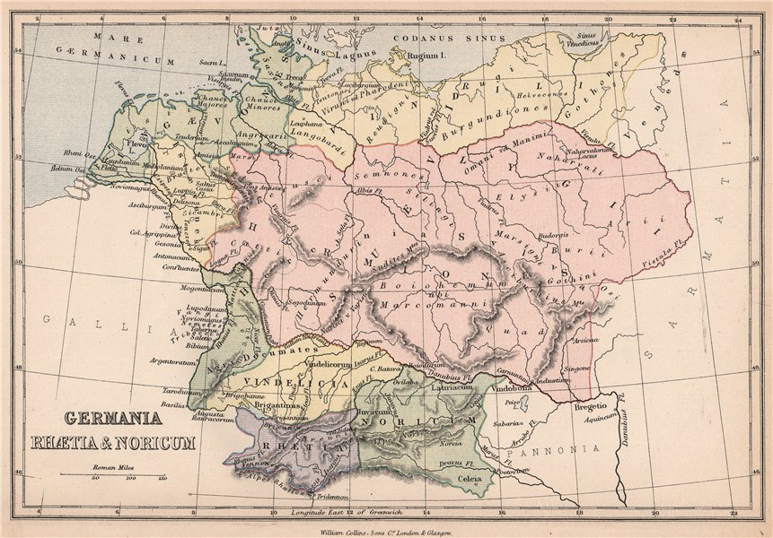 Map Of Old Germany.Ancient Germany Germania Rhaetia Noricum Roman Provinces 1878