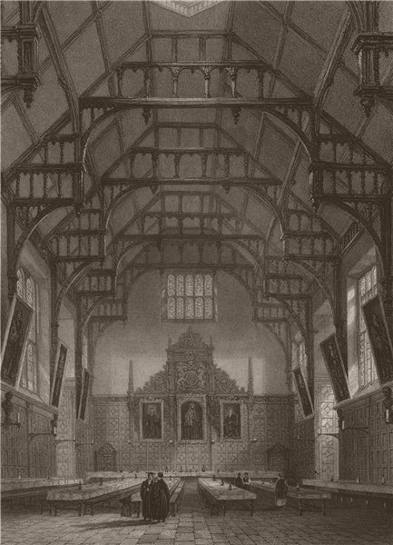 Associate Product Interior of the Hall, TRINITY COLLEGE, Cambridge. LE KEUX 1841 old print