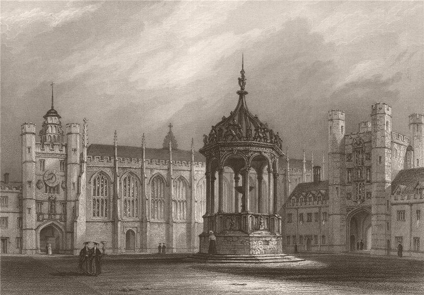Associate Product The Great Court, TRINITY COLLEGE, Cambridge. LE KEUX 1841 old antique print