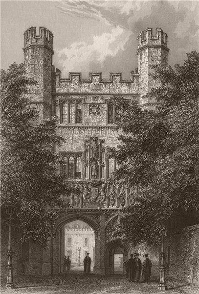 Associate Product TRINITY COLLEGE entrance Gateway, Cambridge. LE KEUX 1841 old antique print