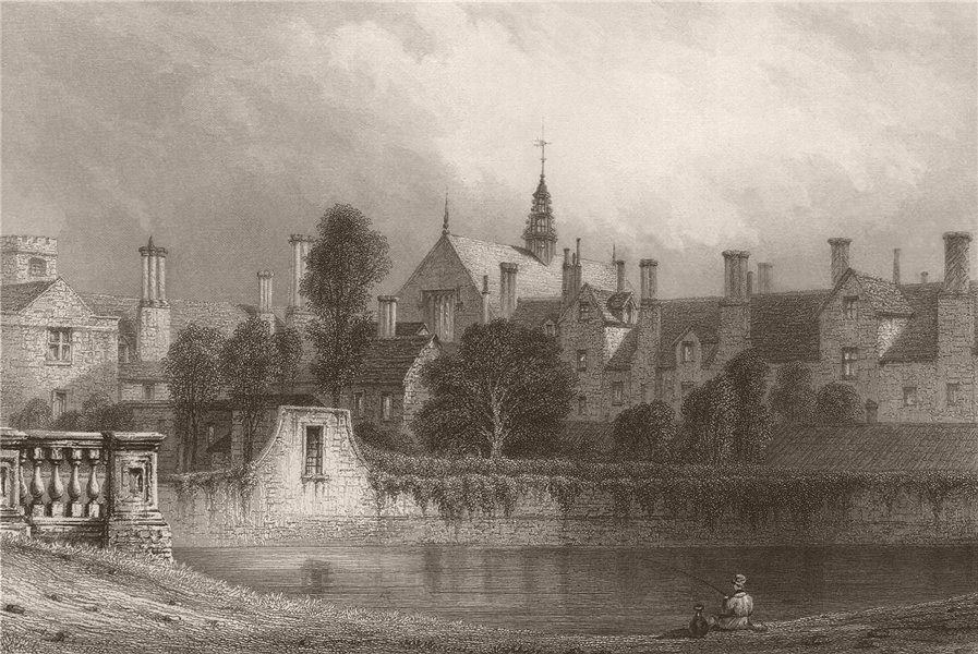 Associate Product TRINITY COLLEGE from ST. JOHN'S COLLEGE, Old Bridge, Cambridge. LE KEUX 1841