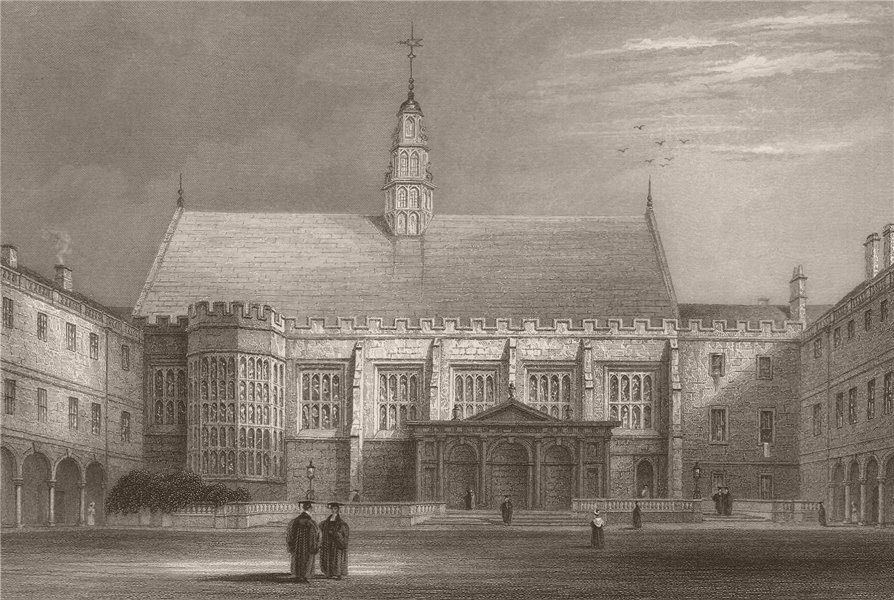 Associate Product TRINITY COLLEGE; The second court shewing the Hall, Cambridge. LE KEUX 1841