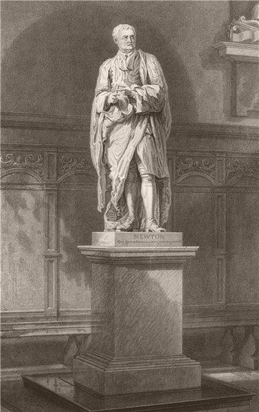 Associate Product Sir Isaac Newton's statue, ante chapel, TRINITY COLLEGE, Cambridge. LE KEUX 1841
