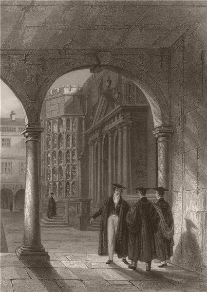 Associate Product TRINITY COLLEGE from the S.E. Angle of the Cloisters, Cambridge. LE KEUX 1841