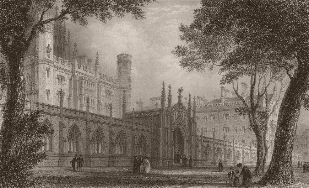 Associate Product New building of ST. JOHN'S, from the Gardens, Cambridge. LE KEUX 1841 print