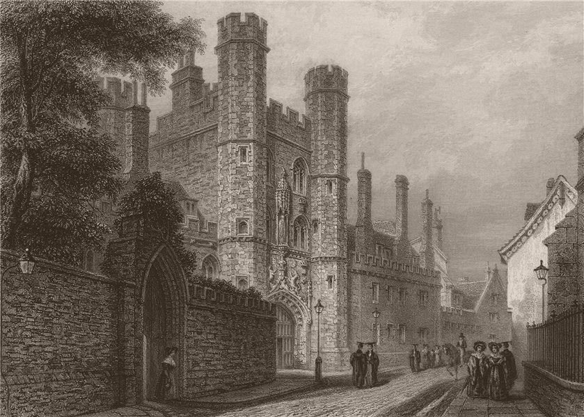 Associate Product Entrance Gateway, ST. JOHN'S COLLEGE, Cambridge. LE KEUX 1841 old print