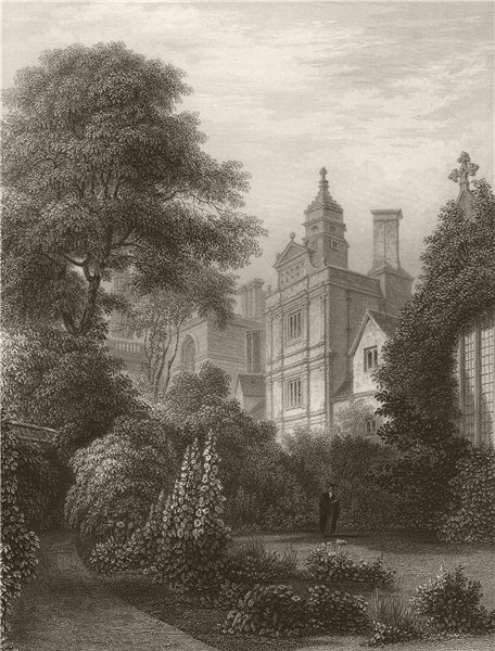 Associate Product CAIUS COLLEGE from the Fellows Gardens, Cambridge. LE KEUX 1841 old print