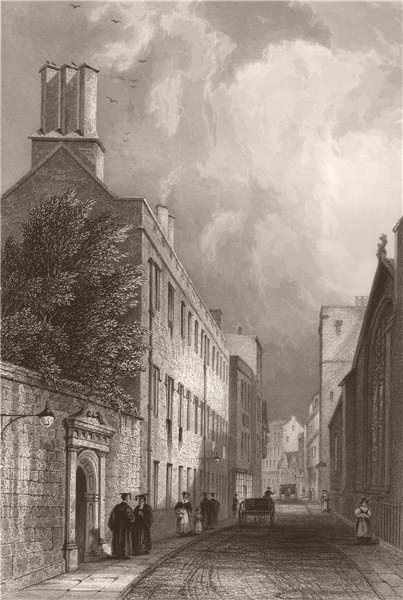 Associate Product CAIUS COLLEGE from the street, Cambridge. LE KEUX 1841 old antique print