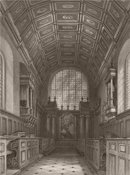 Associate Product Interior of The Chapel CAIUS COLLEGE, Cambridge. LE KEUX 1841 old print