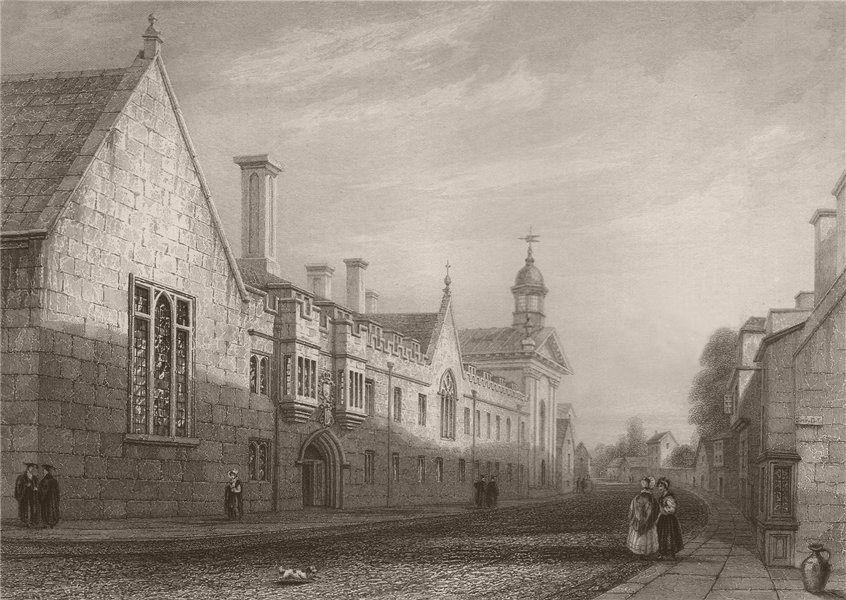Associate Product PEMBROKE COLLEGE from the street, Cambridge. LE KEUX 1841 old antique print