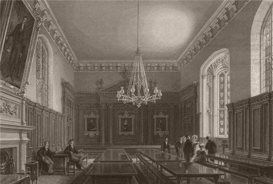 Associate Product The Hall, QUEENS' COLLEGE, Cambridge. LE KEUX 1841 old antique print picture