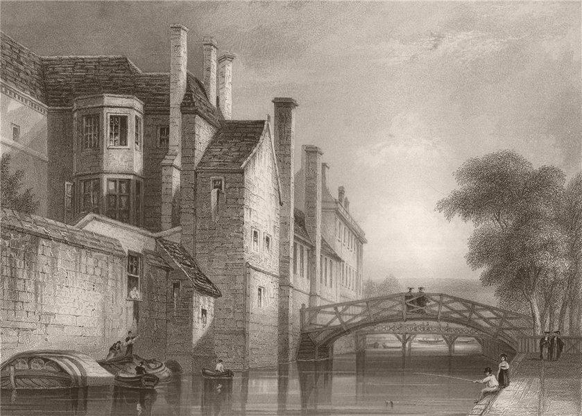 Associate Product QUEENS' COLLEGE, Cambridge. LE KEUX 1841 old antique vintage print picture