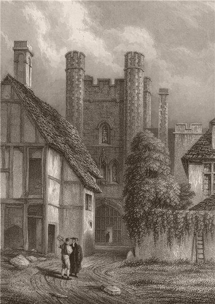 Associate Product QUEENS' COLLEGE, The entrance Gateway as taken in 1837, Cambridge. LE KEUX 1841