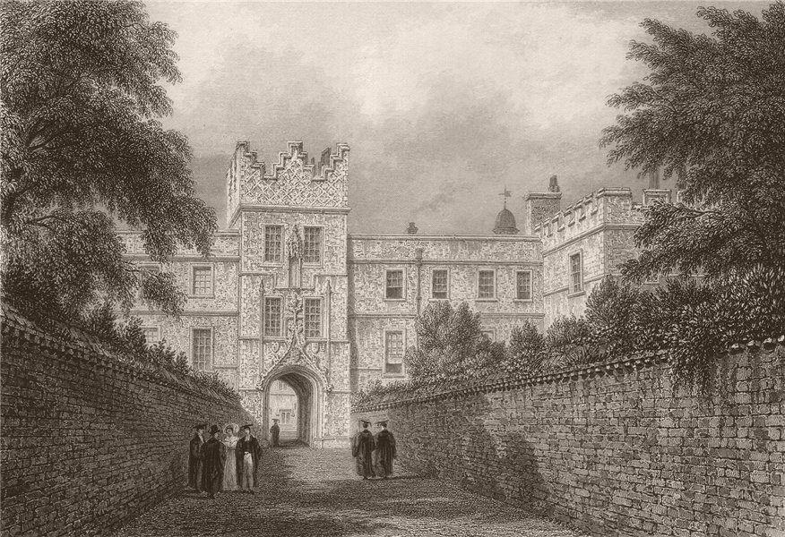 Associate Product JESUS COLLEGE. The entrance Gateway, Cambridge. LE KEUX 1841 old antique print