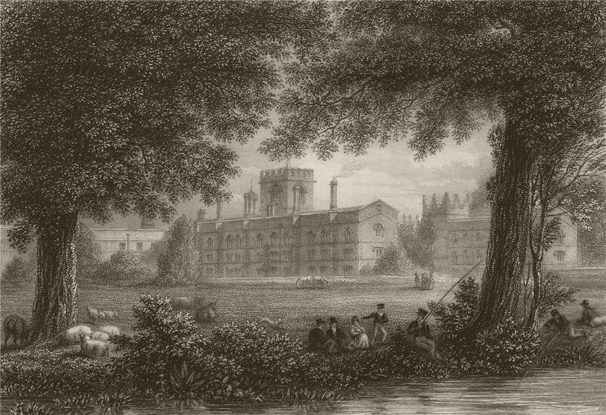 Associate Product JESUS COLLEGE. from the Meadows, Cambridge. LE KEUX 1841 old antique print