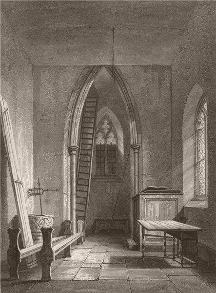 Associate Product Interior of St. Peter's Church, Cambridge. LE KEUX 1841 old antique print
