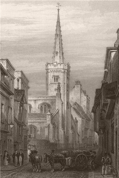 Associate Product St. Clements Church, Cambridge. LE KEUX 1841 old antique vintage print picture