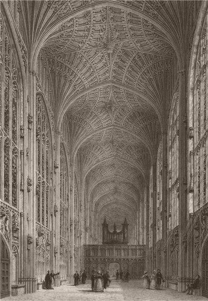 Associate Product Interior of KING'S COLLEGE Chapel, Cambridge. LE KEUX 1841 old antique print