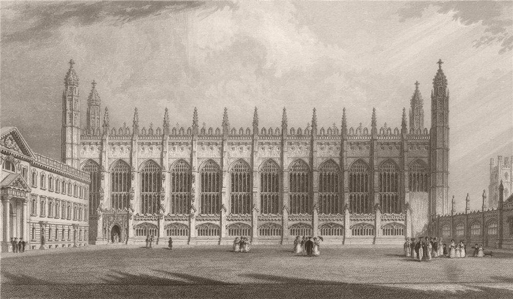 Associate Product Exterior of KING'S COLLEGE Chapel, Cambridge. LE KEUX 1841 old antique print