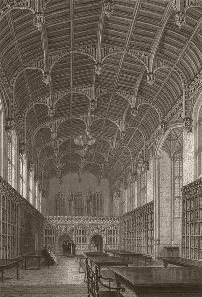 Associate Product Interior of the Hall, KING'S COLLEGE, Cambridge. LE KEUX 1841 old print