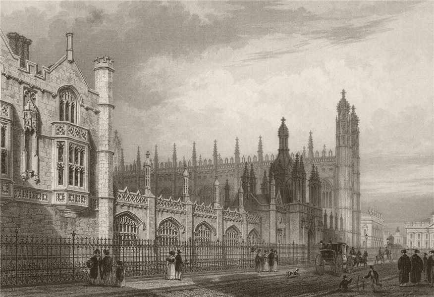 Associate Product The front of KING'S COLLEGE, from Trumpington street, Cambridge. LE KEUX 1841
