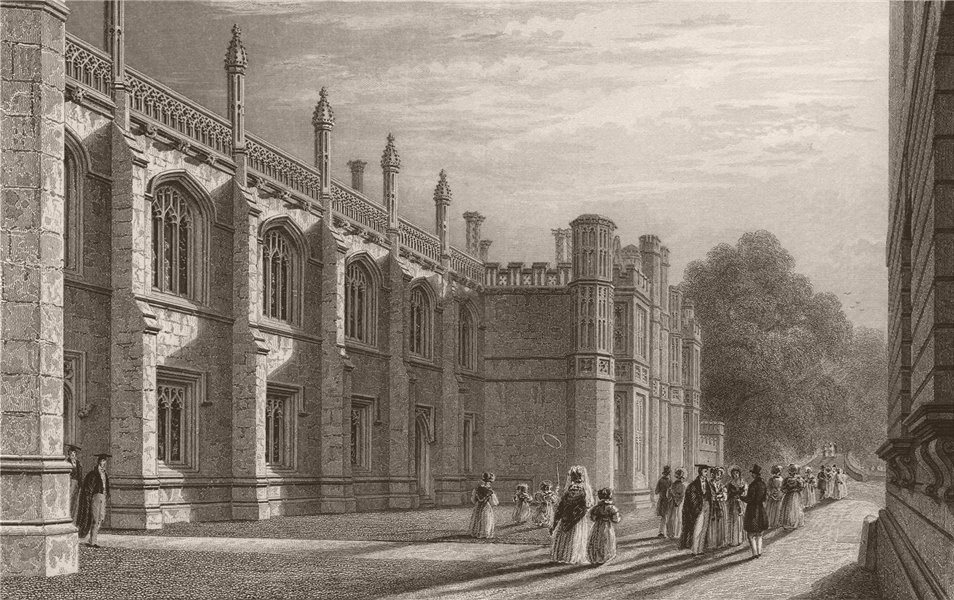 Associate Product The Library of KING'S COLLEGE, Cambridge. LE KEUX 1841 old antique print