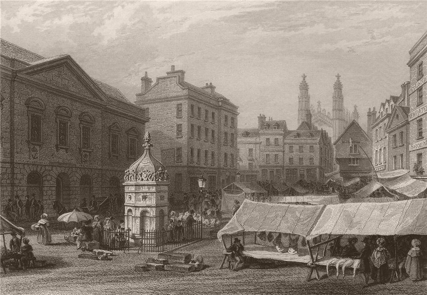 Associate Product CAMBRIDGE. The Market Place with the Town Hall & Hobson's Conduit. LE KEUX 1841