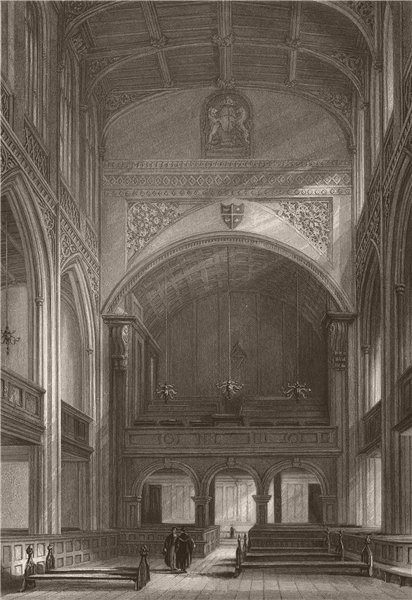 CAMBRIDGE. Great St. Mary's Church, Interior. LE KEUX 1841 old antique print