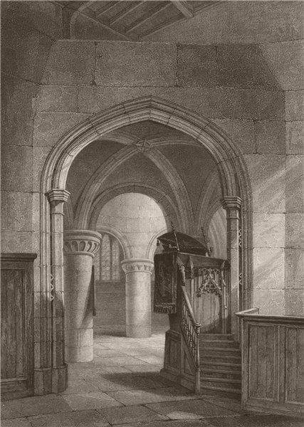 Associate Product CAMBRIDGE. Interior of St. Sepulchres Church. LE KEUX 1841 old antique print