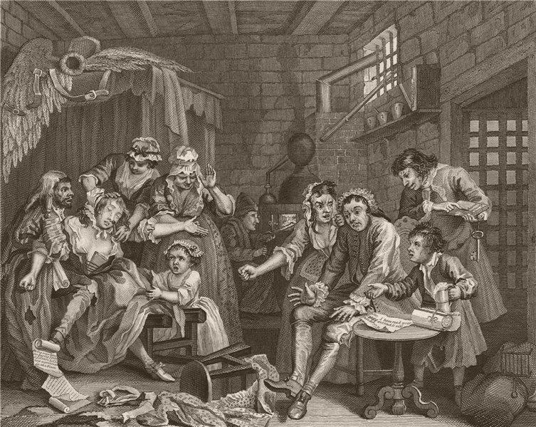 Associate Product RAKE'S PROGRESS. 'Prison scene'. Plate 7. HOGARTH 1833 old antique print