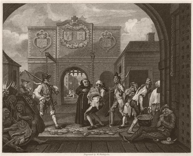 """Associate Product 'Gate of Calais; """"O the roast beef of old England""""'. After William HOGARTH 1833"""