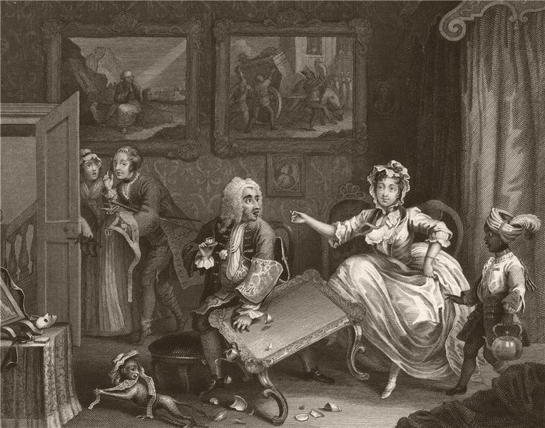 Associate Product HARLOT'S PROGRESS. 'Quarrels with her Jew protector'. Plate 2. HOGARTH 1833