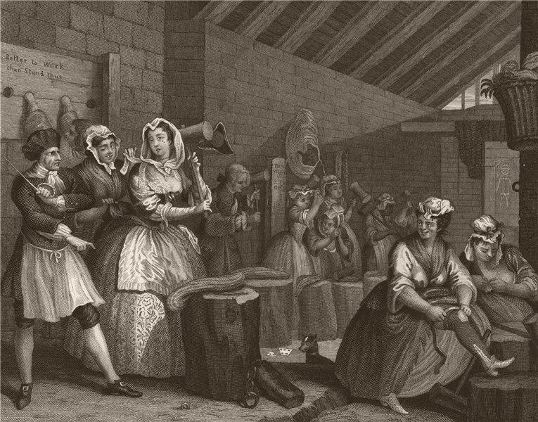 Associate Product HARLOT'S PROGRESS. 'Scene in Bridewell'. Plate 4. HOGARTH 1833 old print