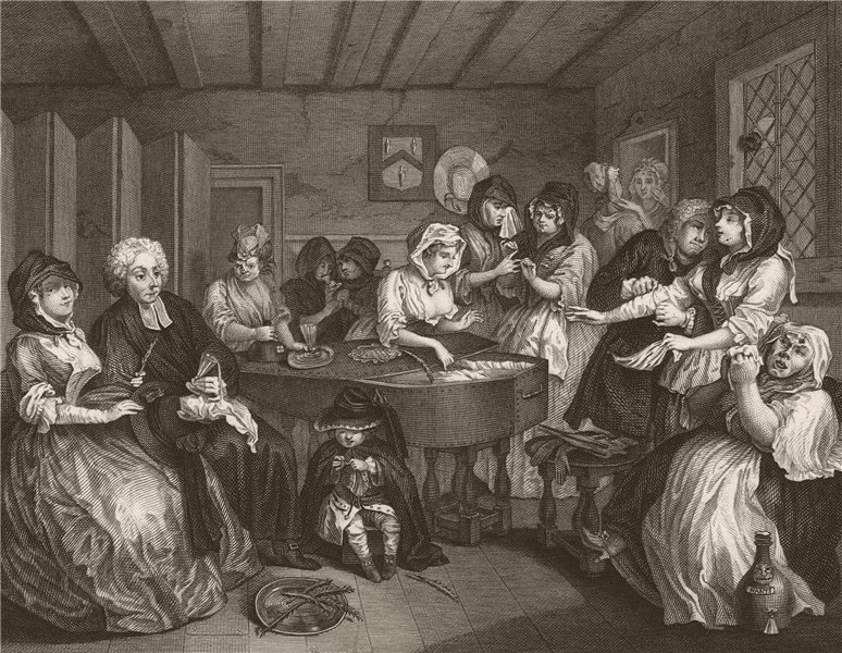 Associate Product HARLOT'S PROGRESS. 'The Funeral'. Plate 6. HOGARTH 1833 old antique print